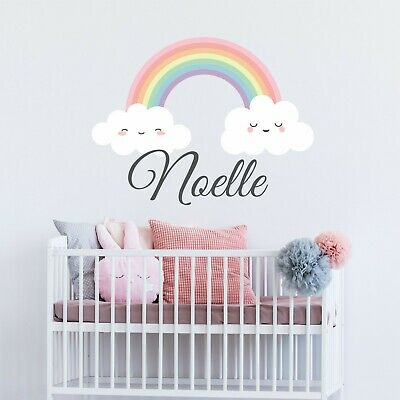 Custom Name Vinyl Decal With Rainbow & Clouds Wall Sticker