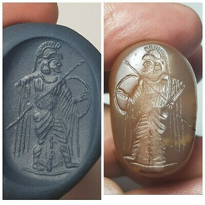 Ancient old roman agate intaglio bead stamp