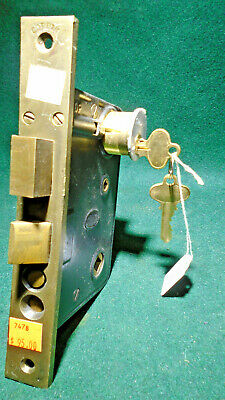 "CORBIN #1343 ENTRY MORTISE LOCK w/KEY: 7 7/8"" FACE  - 1927 CATALOG ITEM (7478)"