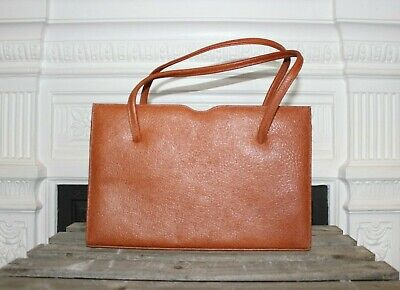 Vintage Light Brown Leather Handbag 1950s 1960s Kelly Bag Retro Clasp Marquessa