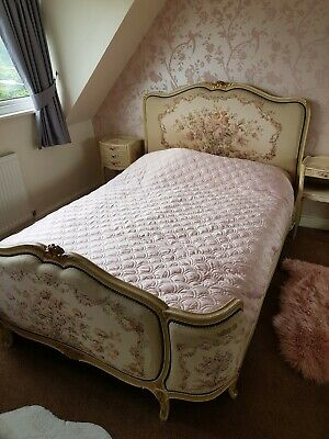 French Vintage Double Demi Bed , Embroidered Detail , Floral , Shabby Chic ,