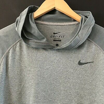 930a4435 NIKE Mens Dri-Fit Touch Hooded Long Sleeve Shirt Gray Striped Pullover  Hoodie L