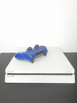 Sony PlayStation 4 White Slim 500GB PSN Banned w/ Blue PS4 Controller + 3 Games