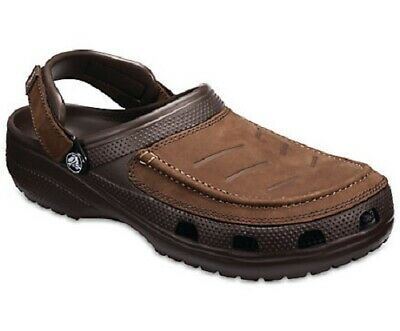 ef94045c6 New Crocs Mens Yukon Mesa Clog Shoes Brown Espresso Leather Uppers Size UK  12