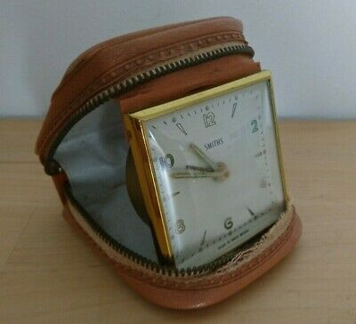 Vintage Retro Smiths Travel Alarm Clock Fully Working In Leather Case