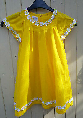 62184464e097 Mini Boden Girls Dress 5 To 6 Years Old Yellow With Daisies Designer Summery