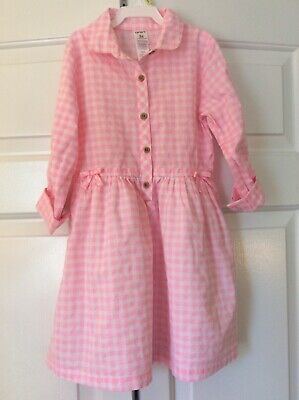 Carter's Pink White Checked Shirt Dress Roll Up Sleeves Girls size 5T NEW