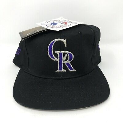 meet fc5c0 e6c50 VTG Colorado Rockies Snapback Hat NWT Deadstock 125th Anniversary Black Cap  MLB