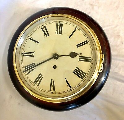 Antique SMALL 10'' Dial Mahogany Wall School Station Railway Clock : Working