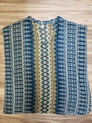 2a37f0d1ca1bc ONEILL Womens Blue Boho Print Sheer Swim Cover Up Size Small Sleeveless  Vneck