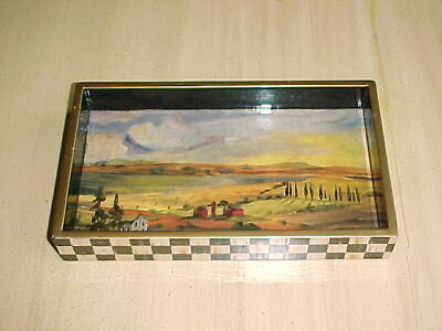 "Mackenzie Childs 8"" Landscape Trinket Tray with Courtly Check Perimiter"