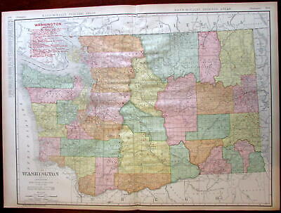 Washington state by itself 1908 huge detailed Rand McNally map