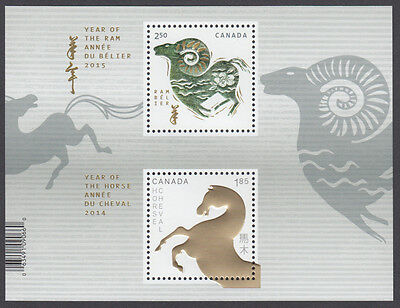 Canada- #2802a Year Of The Ram/Horse Transitional Souvenir Sheet (2015) -MNH