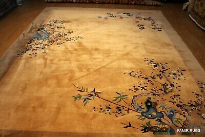 VINTAGE Chinese 9'X11' ART DECO Garden pictorial light brown Khaki ON SALE!!!!