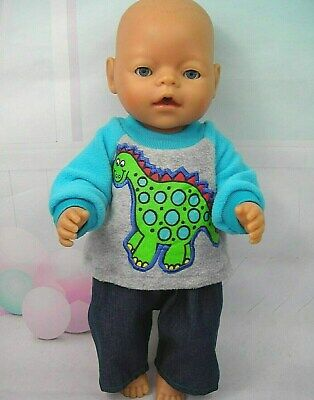 """Dolls clothes for 17"""" Baby Born/Cabbage Patch doll~GREEN DINOSAUR TOP~JEANS"""