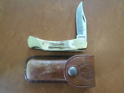 Schrade Knives USA Stag Lock Back Rocky Mountain Elk Foundation Hunting Knife