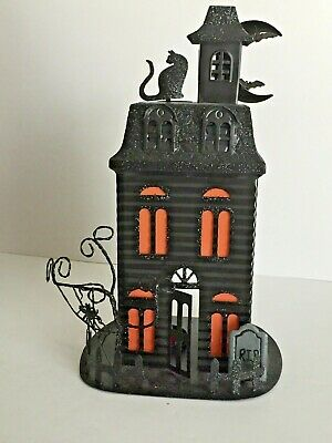 5921c2427b Halloween Votive Light Candle Holder Black Metal 2 Tier Haunted House 14X10