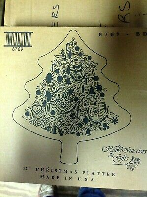 "Home Interiors CHRISTMAS TREE Exclusive Hostess Gift 12"" GLASS HOLIDAY PLATTER"
