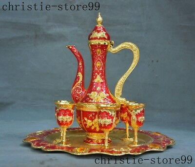 Chinese Noble Dynasty Zinc alloy Cloisonne Wine vessel Goblet Wineglass Cup Set