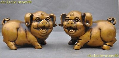 """4""""Collect old Chinese bronze copper folk Feng shui Wealth pig boar pair statue"""