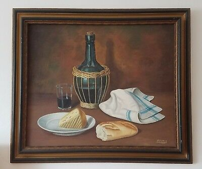 J. Lluyot Original Signed Oil Painting, European Still Life, Early 1970's,Madrid