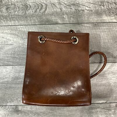 RARE Vintage Cartier 100% Authentic Brown Leather Small Backpack Bag Paris