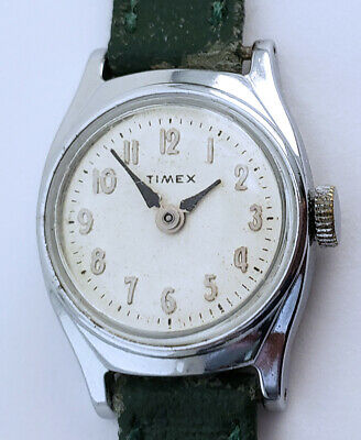 Vintage Women's Wind Up Timex Watch 23mm Silver Arabic Numbers 13mm Lugs White