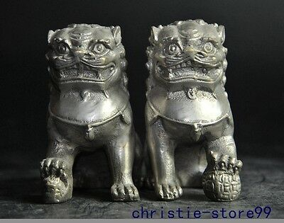 Collect Old chinese tibet silver fengshui animal foo dog lion beast statue pair