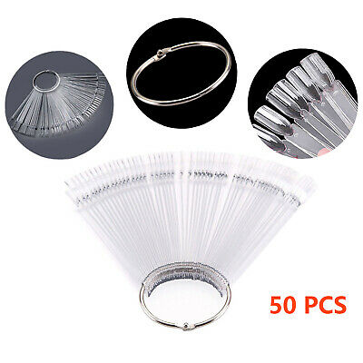 50 Clear False Display Nail Art Fan Ring Wheel Polish Practice Color Stick DIY