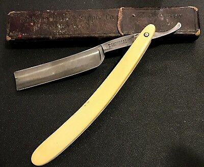 "Antique F.A. Clauberg ""Tonsorial Gem"" Straight Razor, Spokane Barber Supply Case"