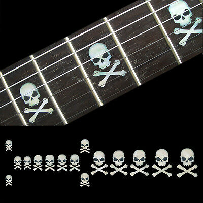Inlay Stickers Decals Fret Markers For Guitar & Bass - Skull with Crossbones WT