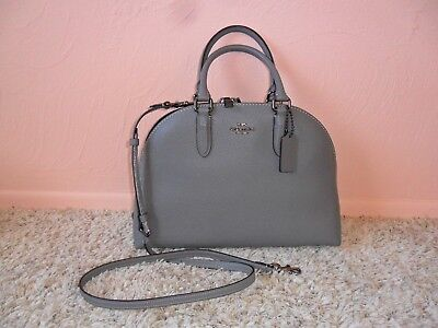 32d2cb854 Nwt $375 Coach Heather Gray Polished Pebble Leather Quinn Satchel #30951
