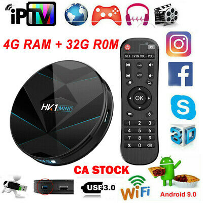 CA Stock Android 9.0 Quad Core TV Box  WiFi Smart 3D Video Media Player 4GB+32GB