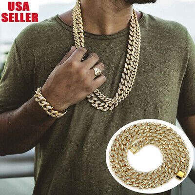 Men's Hip Hop Iced Out Necklace Golden Bling Rhinestone Miami Cuban Link Chain