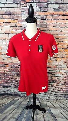 e46e5a8bf Hudson Bay Co. Official Women's Red S/S OLYMPICS Canada Rugby Polo Shirt Top