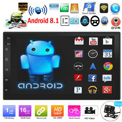 """7"""" HD 2DIN Touch Android 8.1 Car Stereo MP5 Player GPS Navi WiFi BT FM/AM Radio"""
