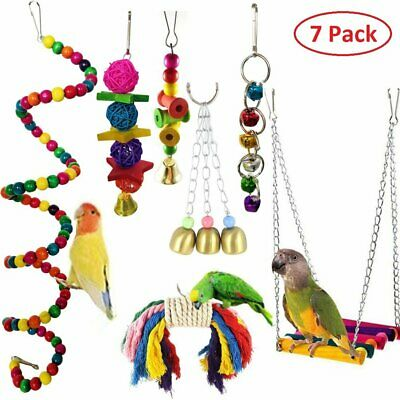 7pcs Wooden Parrot Toy Swing Hammock for Small Birds Macaws Parakeets Cockatiels