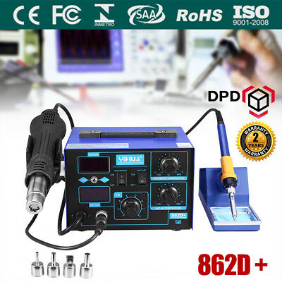 2 in1 862D+ SMD Hot Air Gun Soldering Iron Station Rework Welder 4 Nozzle Set