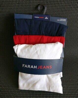 NEW Quality Boys Soft Touch Cotton Trunks 3 Pack Age 8-9 Years By Farah Jeans