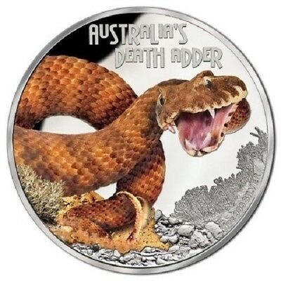 2016 $1 Tuvalu Deadly and Dangerous 1oz silver proof coin - Death Adder