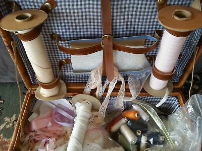 CANE PICNIC BASKET full of lovely sewing 'bits & bobs'
