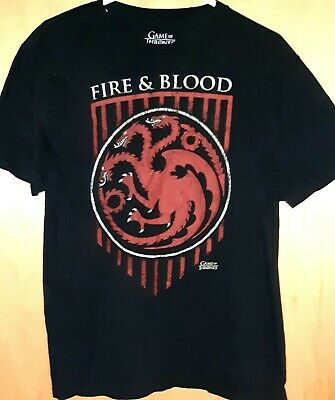"Game of Thrones Shirt ""Fire and Blood"" House Targaryen 3 Headed Dragon Men's M"