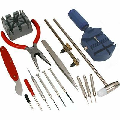 16pc Watch Repair Tool Kit Band Pin Strap Link Remover Wristwatch Back Opener