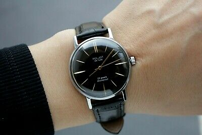 Poljot de Luxe Vintage Mechanical Mens Watch Black SERVICED /new strap