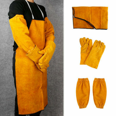 Welder Welding Leather Gloves Gauntlets Long Apron Blacksmith Protection Clothes