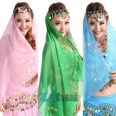 Belly Dance Hanging Coin Turban Chiffon Head Scarf Headpiece Bollywood Costume