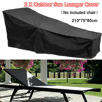 2Pcs Black Waterproof Sunbed/Sun Lounger Garden Furniture Cover Patio Rattan Bed