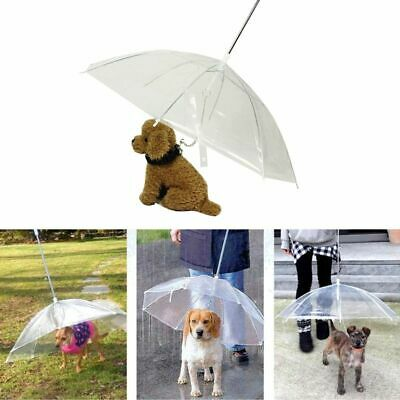 Portable Transparent Dog Cat Pet Umbrella With Chain Keep Dry In Rain Outdoor