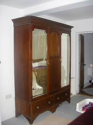 Antique Inlaid Double Mirrored Mahogany Wardrobe 2 Base Drawers Double Hanging
