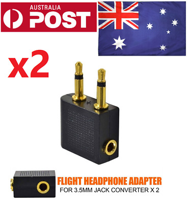 2x Airplane adapter Air plane Headphone Jack Connector for Audio Plug Adapters